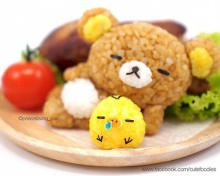 ข้าวปั้นน้องหมี Korilakkuma ห่มผ้าห่มลาย Kiiroitori