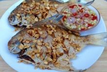 ปลาจาระเม็ดขาว ทอดน้ำปลา